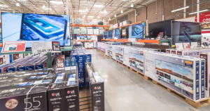 Variety of 4K, UHD, LED, LCD TV on display at Costco wholesale warehouse store.