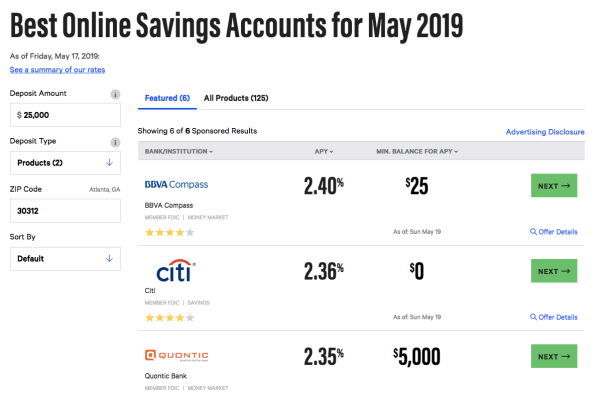 Savings acounts at Bankrate.com