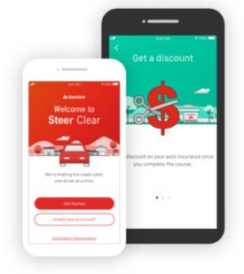 State Farm Steer Clear Driver Discount app on mobile phone