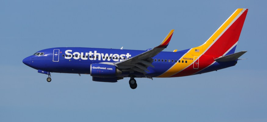 Southwest Airlines plane in air
