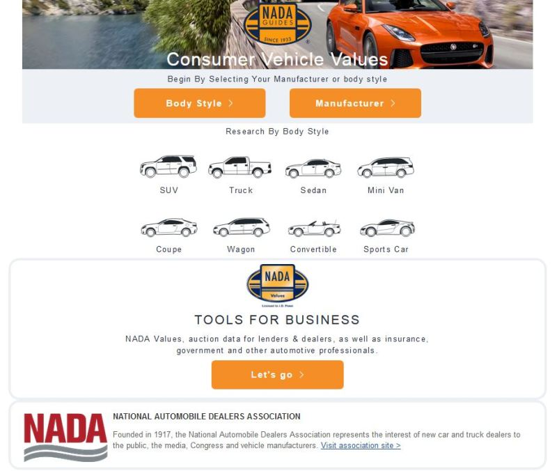 NADA.com can help you research used vehicle values so you develop a feel for the price of a pre-owned car, truck or SUV..