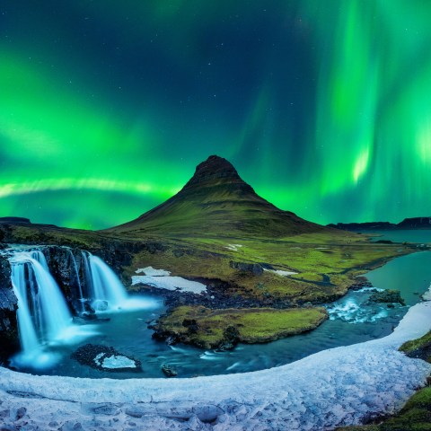 Northern Light, Aurora borealis at Kirkjufell in Iceland