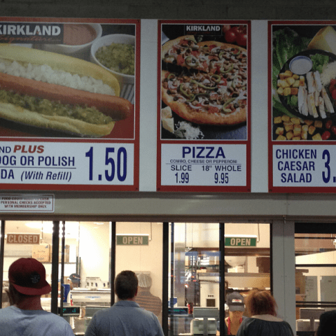 Costco food court signage in front of register