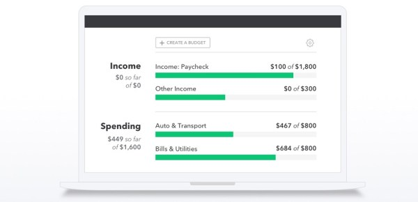 Screenshot of Mint.com dashboard reflecting income and spending for the month