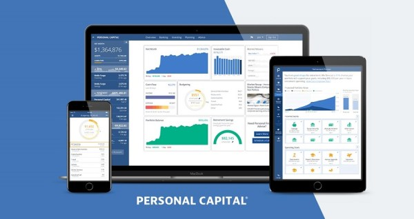 Personal Capital dashboard displays your net worth in the upper left corner