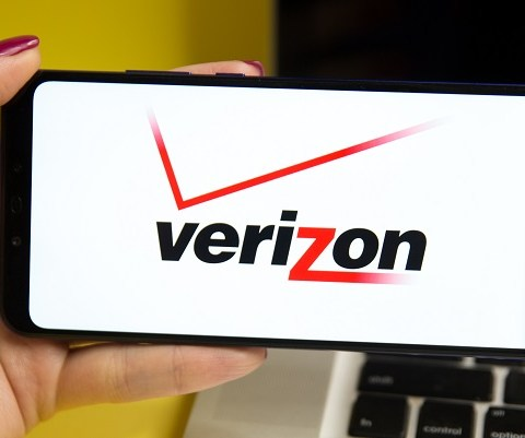 Verizon logo on a smartphone