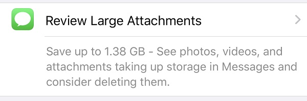 save space by reviewing large attachments on iPhone