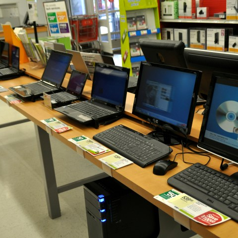 Computers on sale at a store