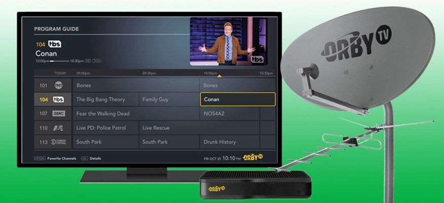 Orby TV receiver, dish and program guide