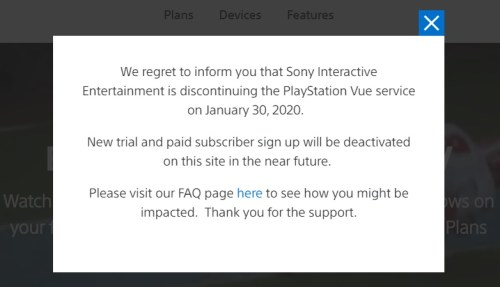 PlayStation Vue is shutting down in January 2020