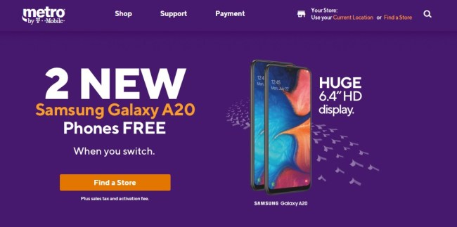 Metro by T-Mobile's Samsung Galaxy A20 phone deal (October 2019)