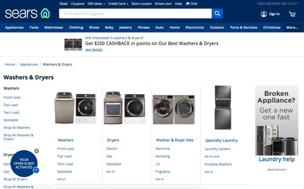 Sears Washers & Dryers