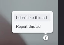Tubi gives you the opportunity to report an ad or say you don't like it.