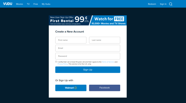 How to create a new account on Vudu.