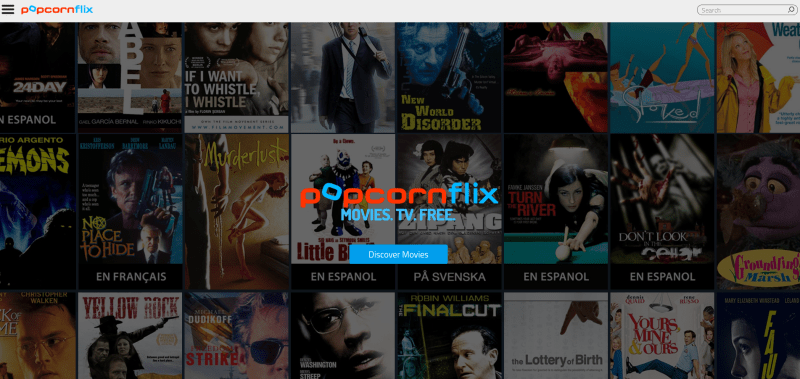 This is the main menu for Popcornflix on the web format, where you can stream free movies and TV series.