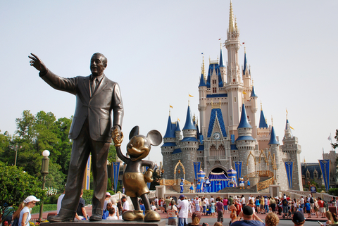 Statue of Walt Disney and Mickey Mouse in front of Cinderella's castle at the Magic Kingdom in Walt Disney World