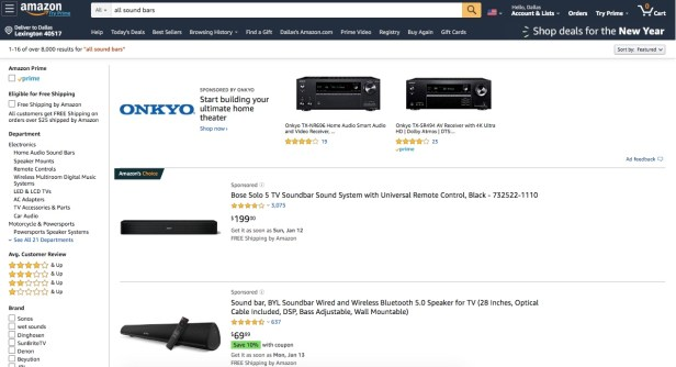 Webpage showing Amazon sound bars
