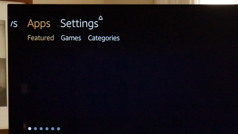 Apps menu on the Amazon Fire TV Stick.