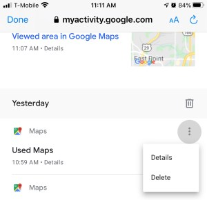 How to delete your Google Maps history