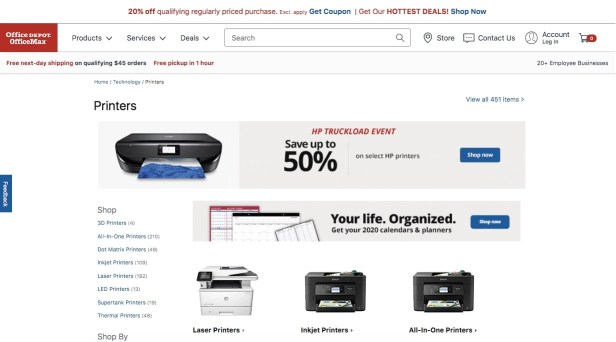 Webpage showing Office Depot printers