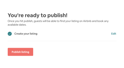 Airbnb publish page