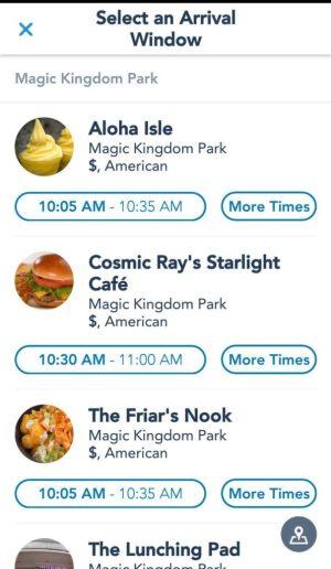 Choosing a restaurant at Disney World