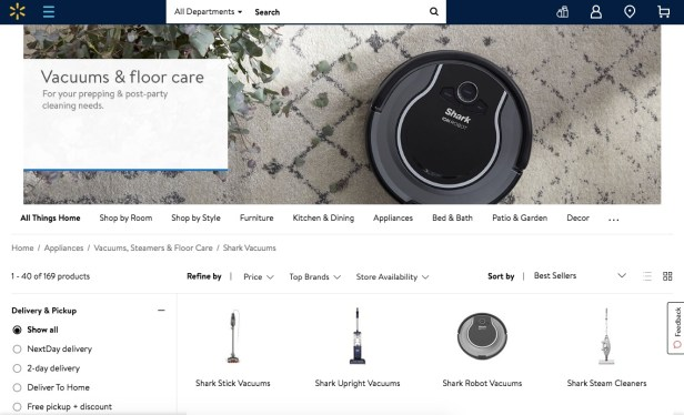 Webpage showing the best Shark vacuums sold at Walmart