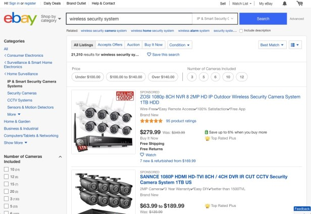Webpage displaying wireless security systems available at eBay