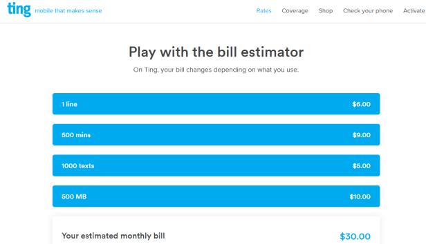 Estimated Ting monthly bill of $30 from bill estimator
