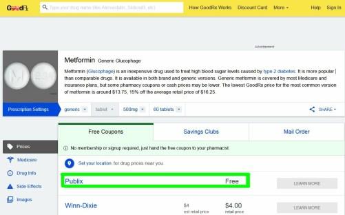 Screenshot of free Metformin on GoodRx (2)