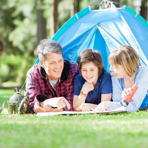 Family camping in yard for staycation