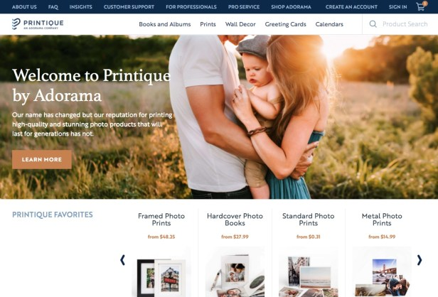 AdoramaPix / Printique Photo Printing Website