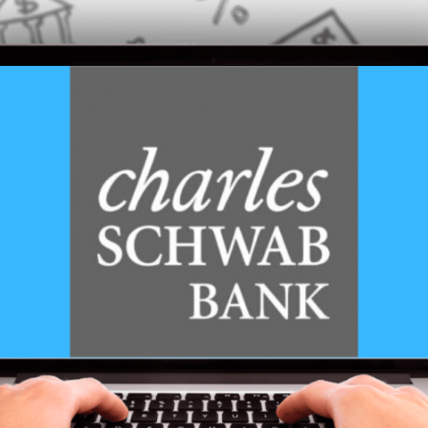 Charles Schwab Bank logo on laptop computer