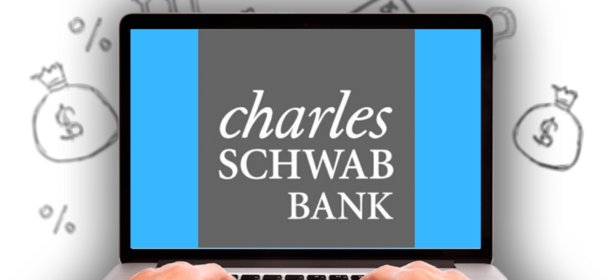 Charles Schwab Bank logo on laptop computer