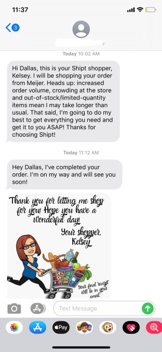 Text updates from a Shipt shopper