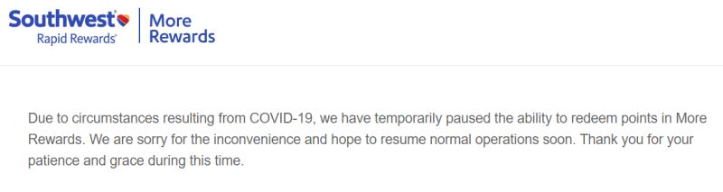 Southwest Rapid Rewards suspends More Rewards due to COVID19