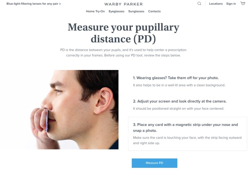 Measuring your pupillary distance with Warby Parker's free online tool