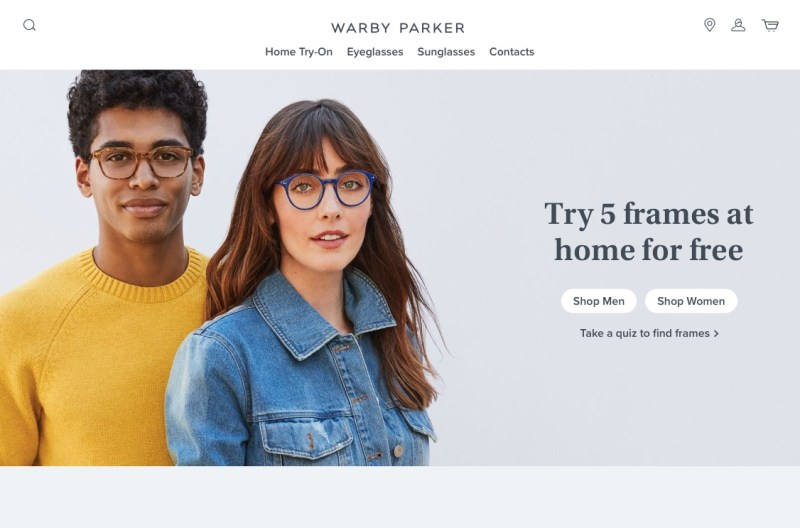 Warby Parker website homepage advertising the try 5 frames at home for free offer.