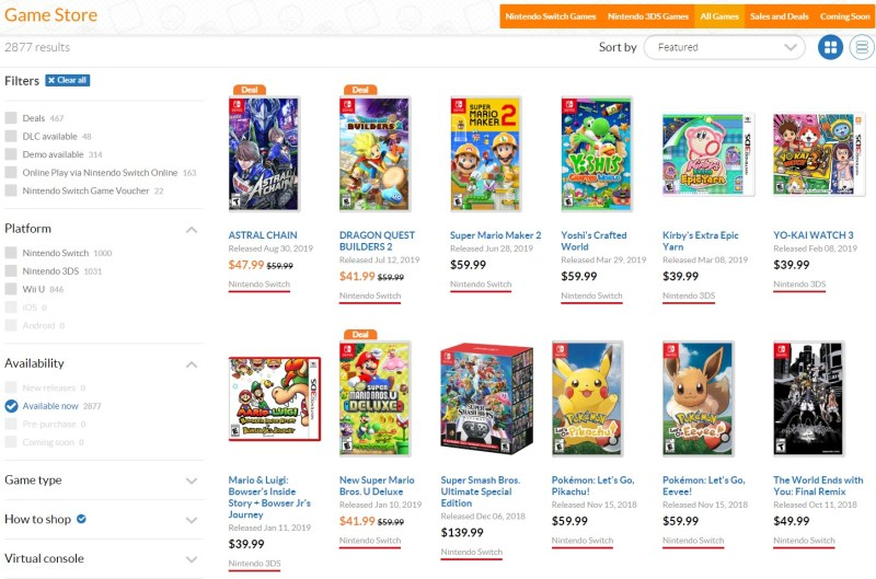 The Nintendo eShop has a menu of more than 2,000 game download options.