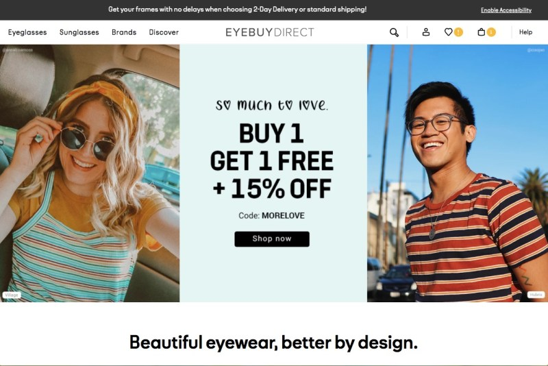 EyeBuyDirect's homepage with a BOGO and 15% off offer advertised