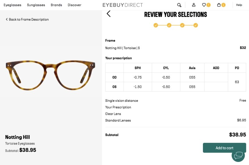 Ordering glasses from EyeBuyDirect online and entering your prescription