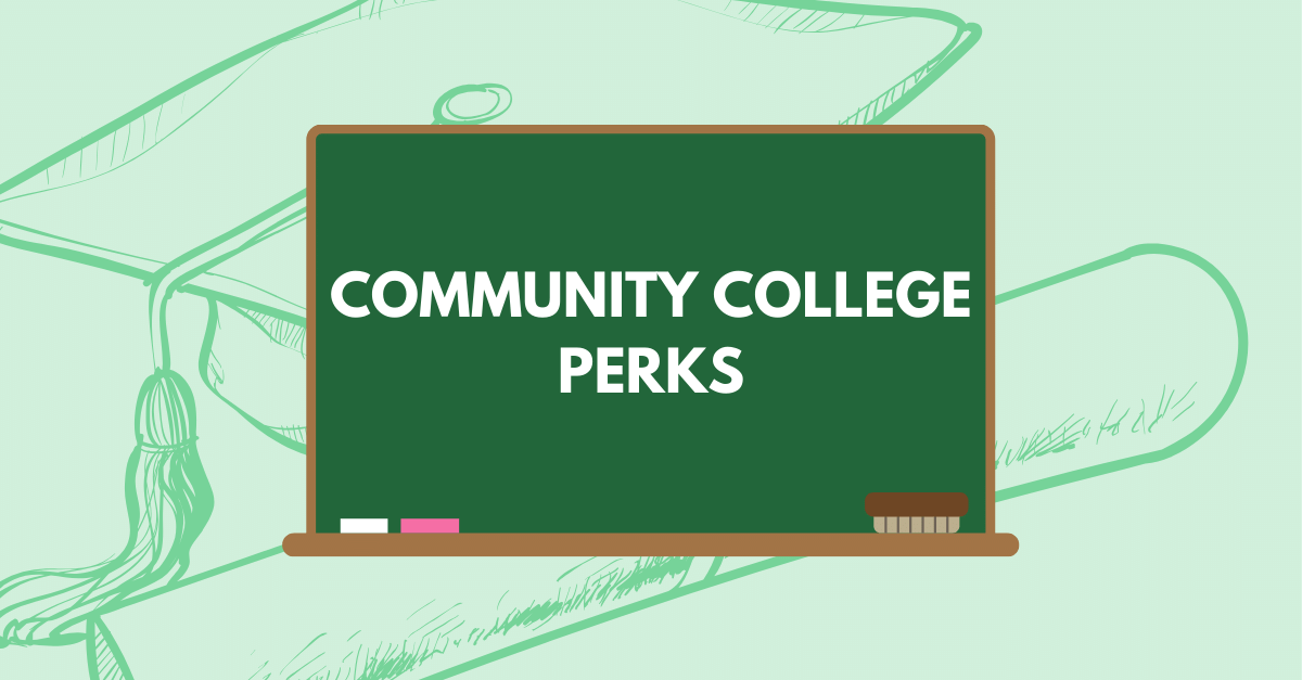 Chalkboard over graduation cap and diploma showing the top 5 benefits of community college
