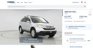 CarMax Vehicle Profile Page