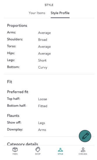 Filling out the style profile in the Stitch Fix app including proportions and fit preferences.