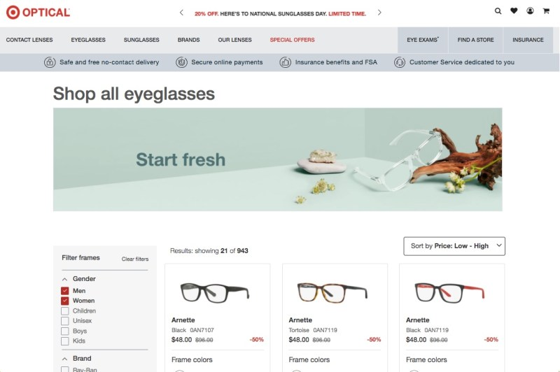 Target Optical's website featuring men's and women's eyeglasses as low as $50