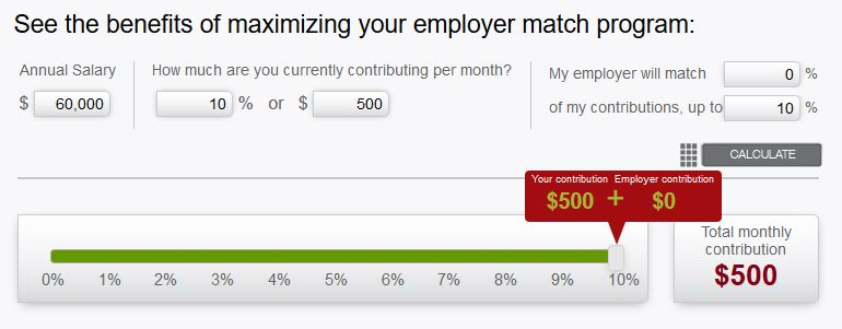 John Hancock Employer Match Calculator showing how retirement savings grow for an employee who does not get any employer match.