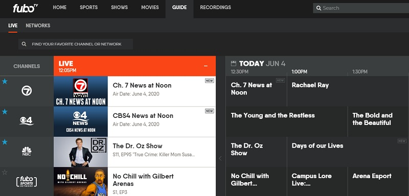 Favorite a channel and it will be featured front and center on the home page and live TV guide on fuboTV.