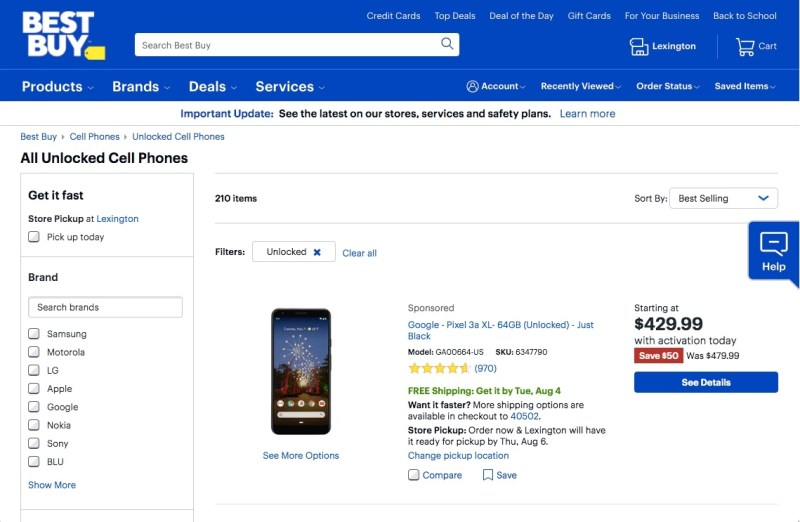 Best Buy website displaying available unlocked phones
