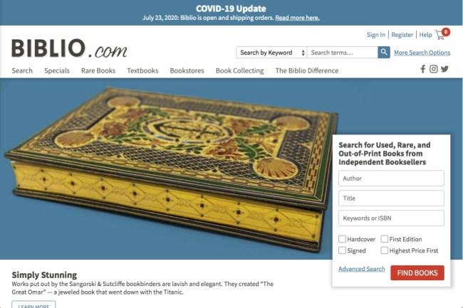 Biblio online bookseller website