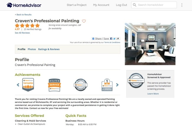 A business' profile on HomeAdvisor featuring company information, ratings, reviews, photos, achievements and more.